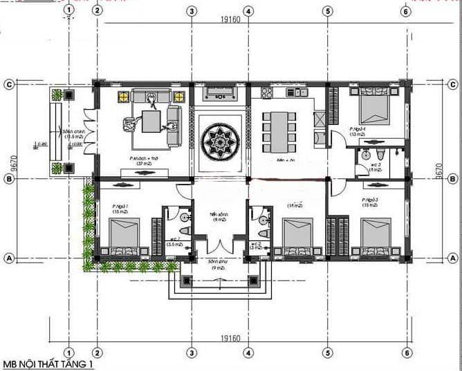 Bản vẽ nhà 1 tầng 4 phòng ngủ