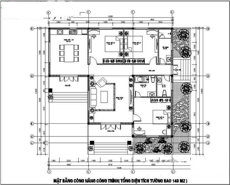 Bản vẽ nhà 1 tầng mái thái 8x12