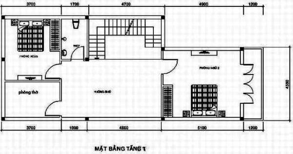 Bản vẽ nhà 2 tầng 3 phòng ngủ tầng 1