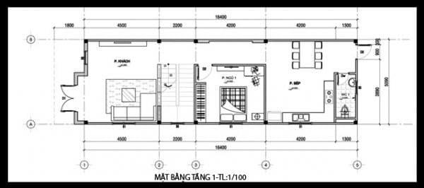 Bản vẽ nhà 2 tầng 3 phòng ngủ tầng 2