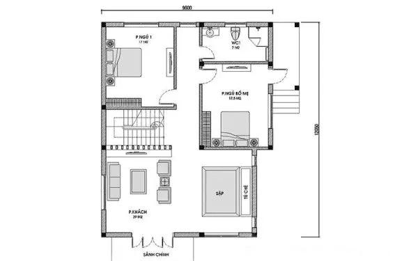 Bản vẽ nhà 2 tầng 4 phòng ngủ tầng 1