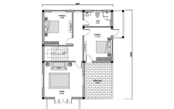 Bản vẽ nhà 2 tầng 4 phòng ngủ tầng 2