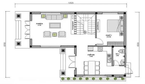 Bản vẽ nhà 2 tầng mái thái tầng 1