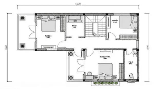 Bản vẽ nhà 2 tầng mái thái tầng 2