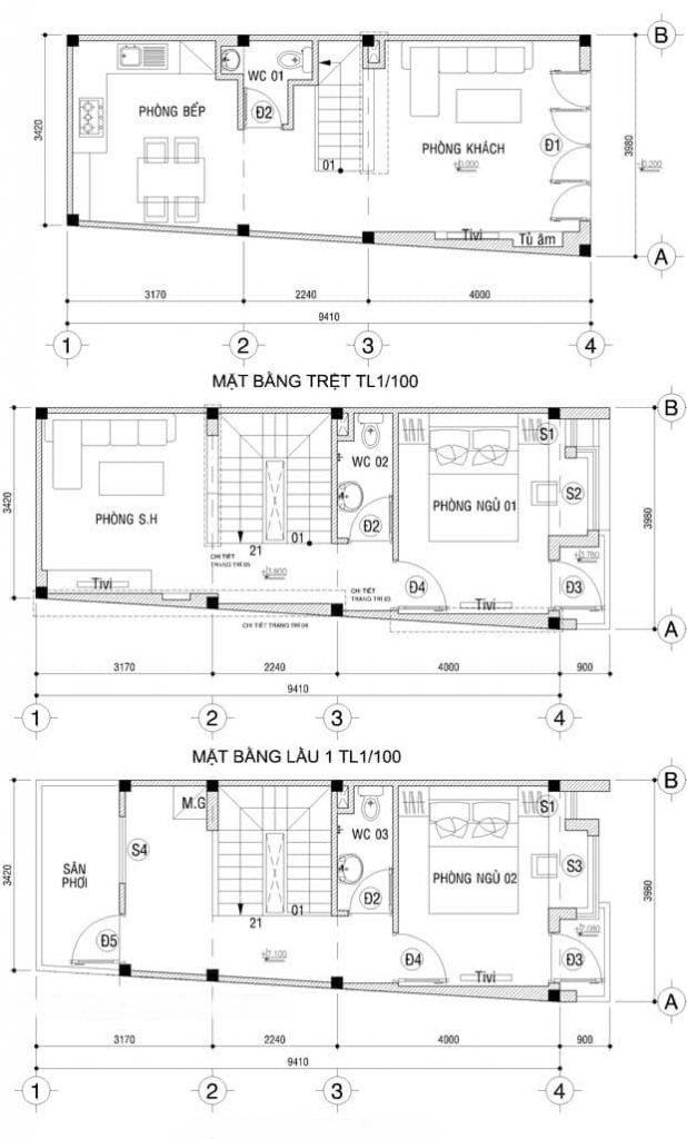 Bản vẽ nhà 3 tầng 40m2