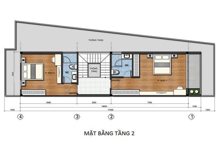 Bản vẽ nhà 3 tầng 5x15 tầng 2
