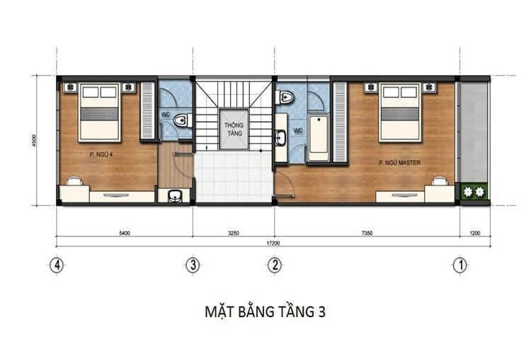 Bản vẽ nhà 3 tầng 5x15 tầng 3