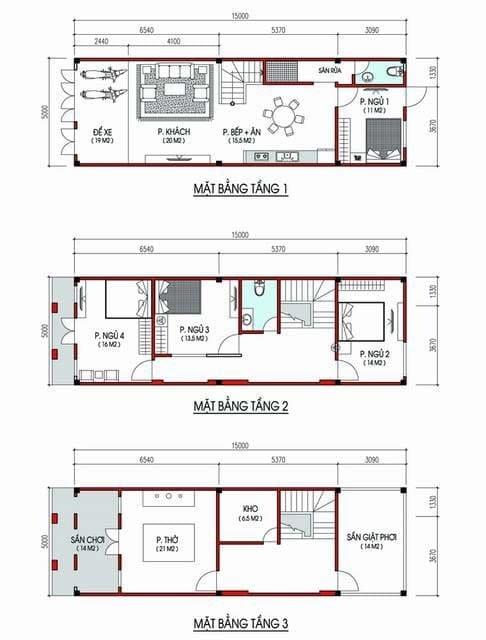 Bản vẽ nhà 3 tầng 5x16