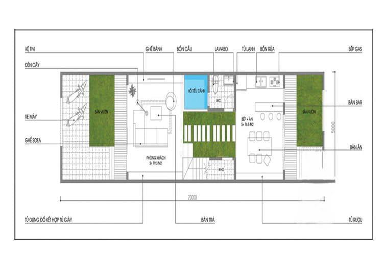 Bản vẽ nhà 3 tầng 5x20 tầng 1