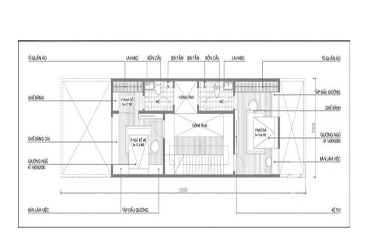 Bản vẽ nhà 3 tầng 5x20 tầng 2