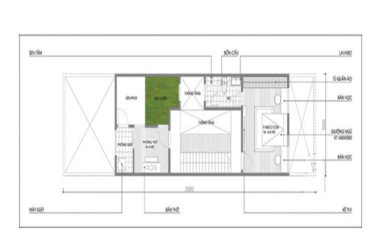 Bản vẽ nhà 3 tầng 5x20 tầng 3