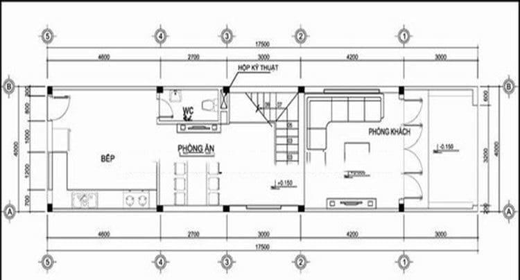Bản vẽ nhà 3 tầng lệch tầng 1