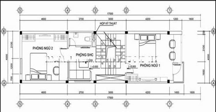 Bản vẽ nhà 3 tầng lệch tầng 2