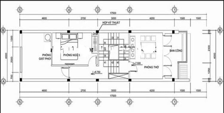 Bản vẽ nhà 3 tầng lệch tầng 3