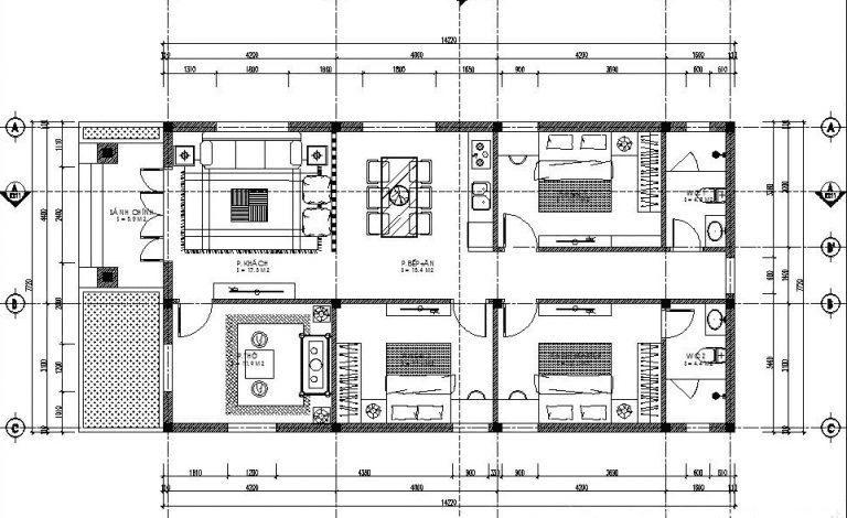 Bản vẽ nhà cấp 4 3 phòng ngủ (có phòng thờ)