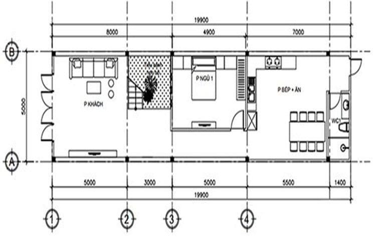 Bản vẽ nhà phố 3 tầng tầng 1