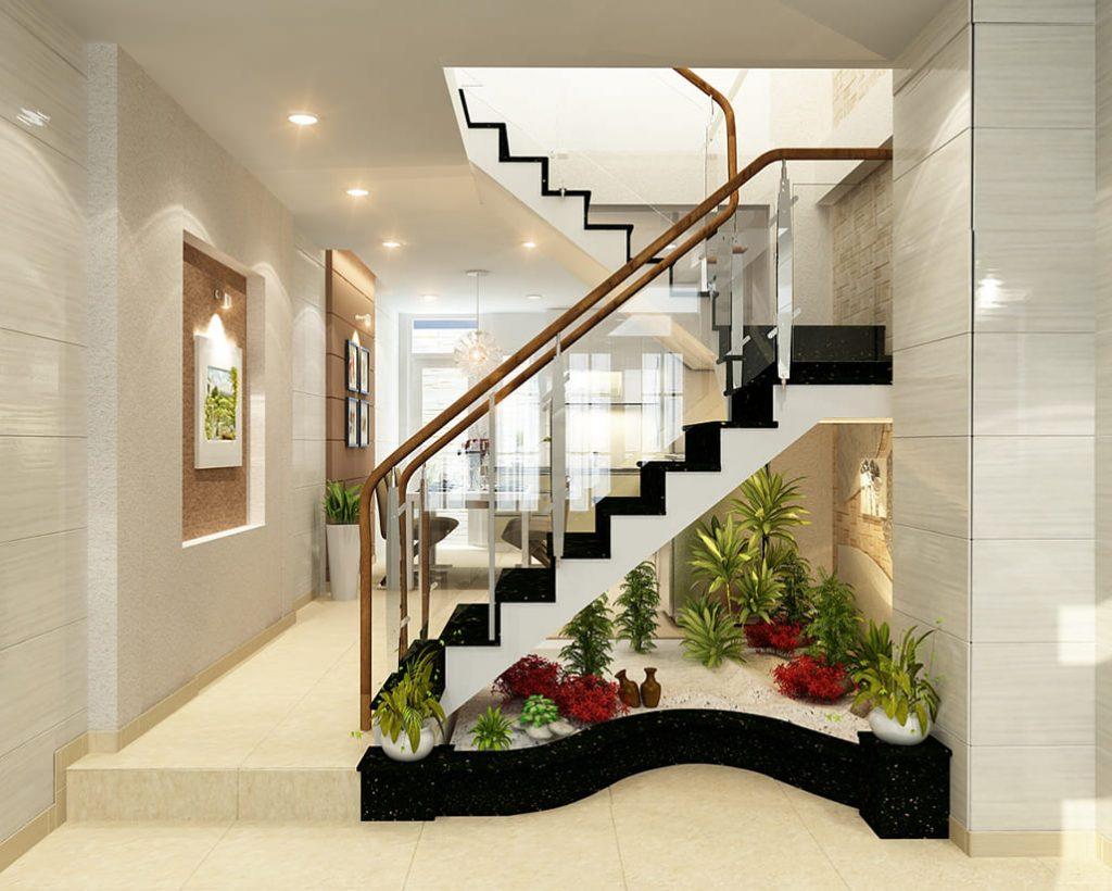 Cách bố trí cầu thang nhà ống, đảm bảo diện tích