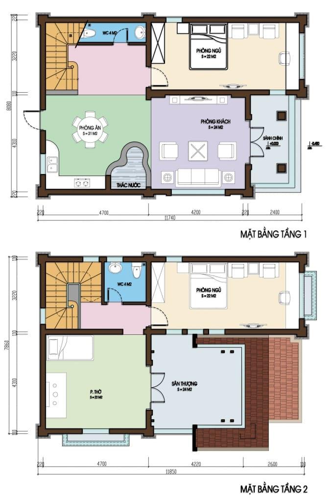 Bản vẽ nhà biệt thự 2 tầng
