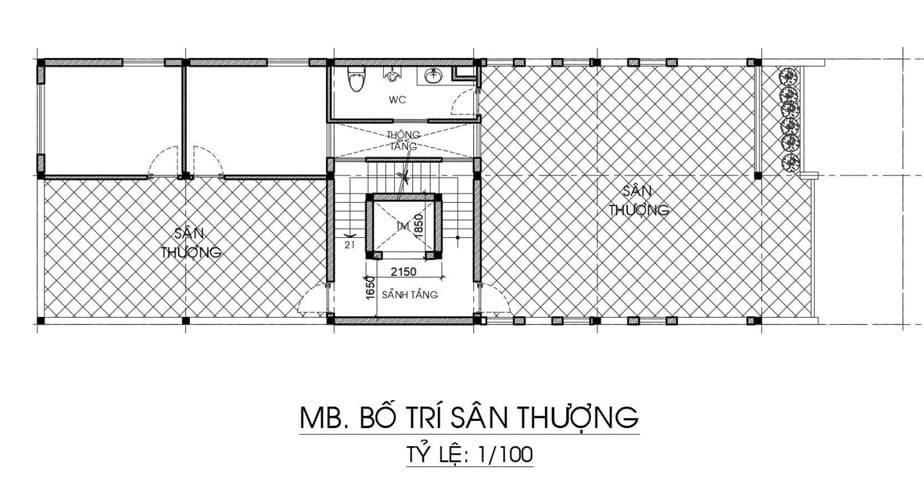 Bản vẽ nhà biệt thự 3 tầng và 1 tum - Sân thượng