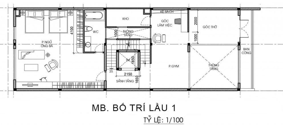 Bản vẽ nhà biệt thự 3 tầng và 1 tum - Tầng 1