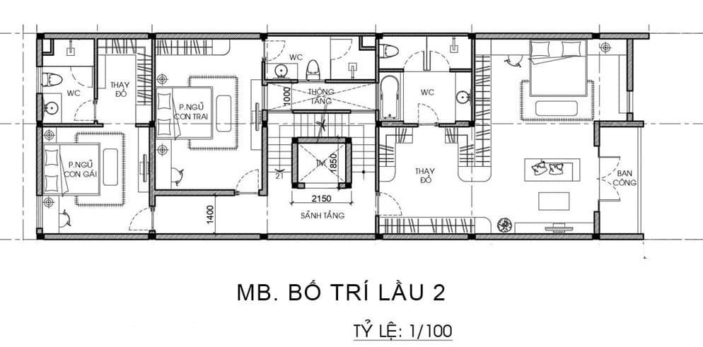 Bản vẽ nhà biệt thự 3 tầng và 1 tum - Tầng 2