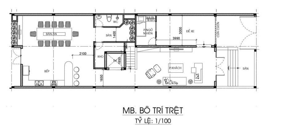 Bản vẽ nhà biệt thự 3 tầng và 1 tum - Tầng trệt