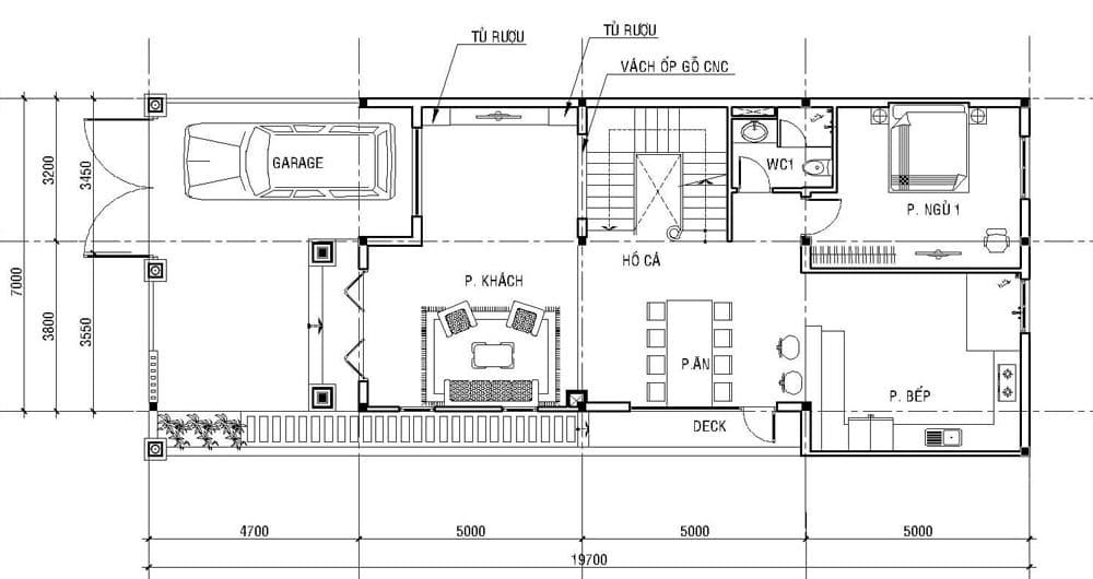 Bản vẽ nhà biệt thự 3 tầng - Tầng 1