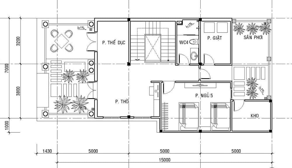 Bản vẽ nhà biệt thự 3 tầng - Tầng 3