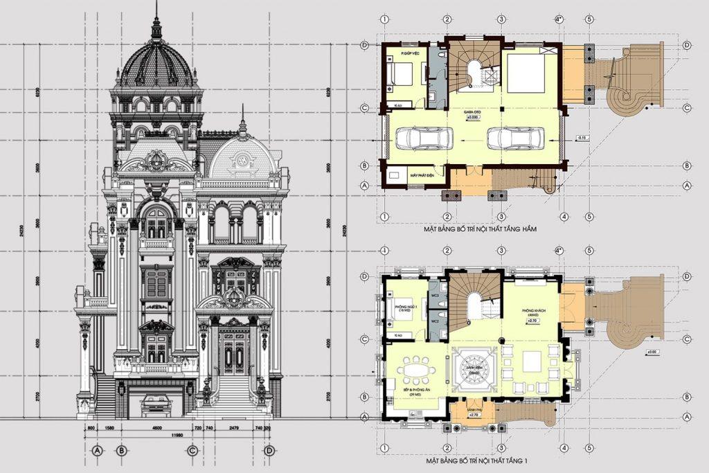 Bản vẽ nhà biệt thự theo lối kiến trúc của Pháp