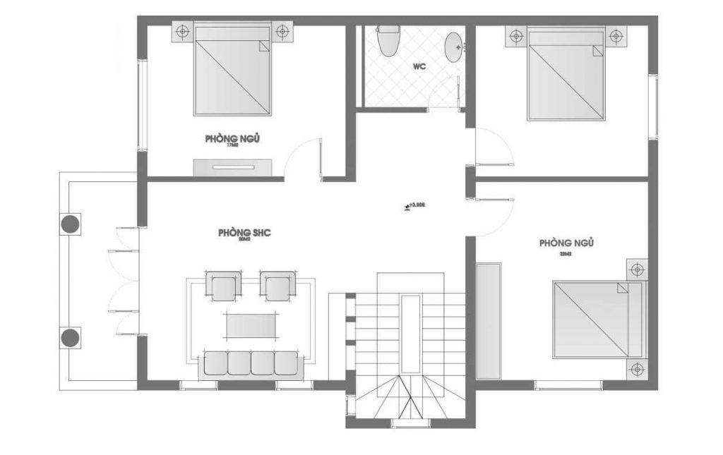 Bản vẽ nhà biệt thự mái thái tầng 1