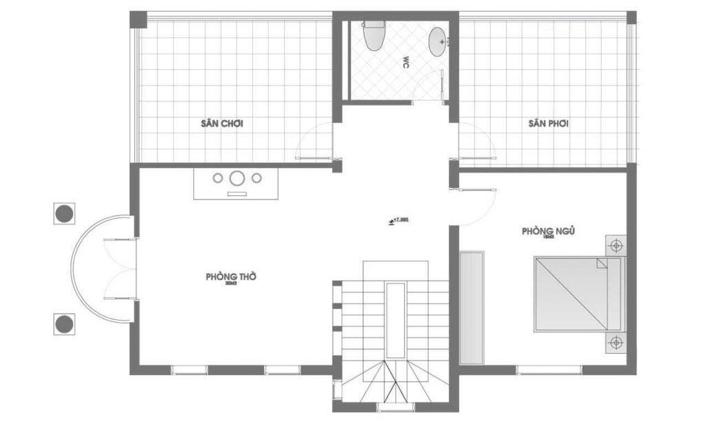 Bản vẽ nhà biệt thự mái thái tầng 2