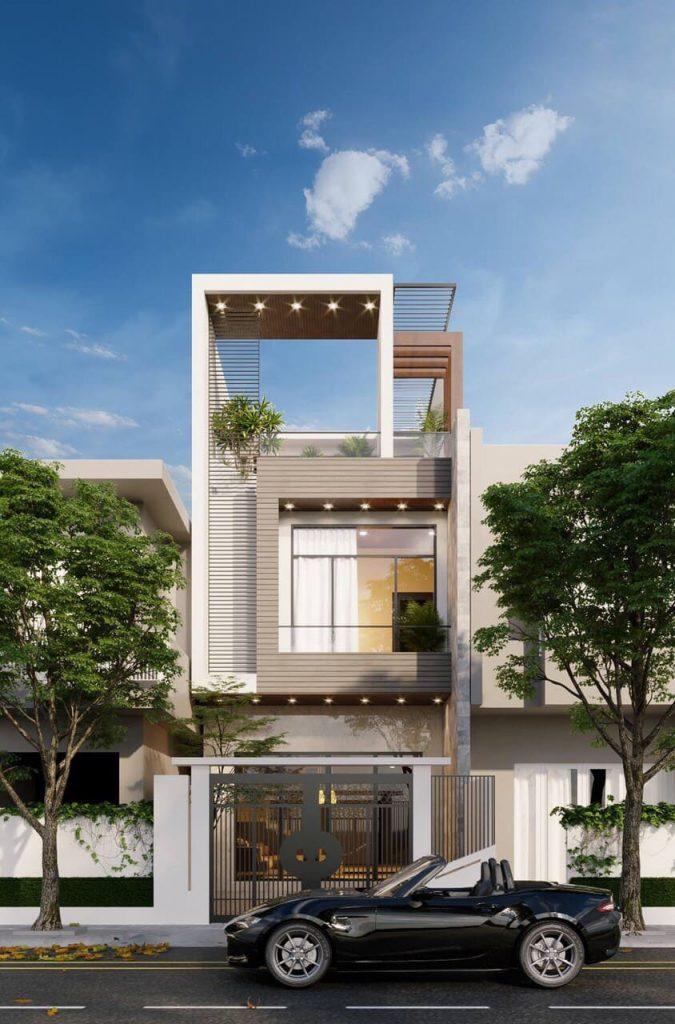 Mặt tiền nhà 2 tầng đẹp 4m