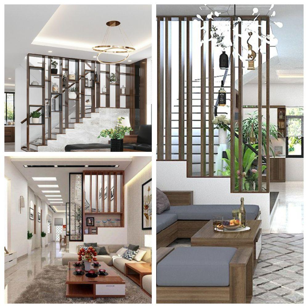 Trang trí vách cầu thang ngăn phòng khách đẹp